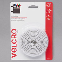 Velcro® 90087 3/4 inch x 5' White Sticky-Back Hook and Loop Fastener Tape Roll with Dispenser