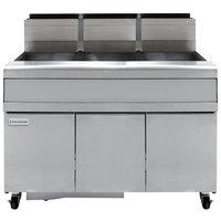 Frymaster FMJ350 50 lb. Liquid Propane Three Unit Floor Fryer with Filtration System and Millivolt Temperature Control - 366,000 BTU
