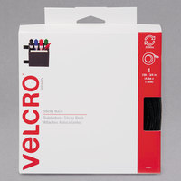 Velcro® 90081 3/4 inch x 15' Black Sticky-Back Hook and Loop Fastener Tape Roll with Dispenser