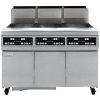 Frymaster FMJ350 50 lb. Liquid Propane Three Unit Floor Fryer with Filtration System and Touchpad Digital Controls - 366,000 BTU