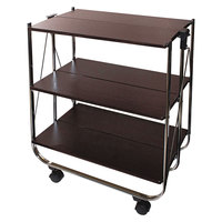 Vertiflex VF51022 26 1/2 inch x 15 3/4 inch x 31 1/2 inch Chrome / Brown Click-N-Fold Utility Cart