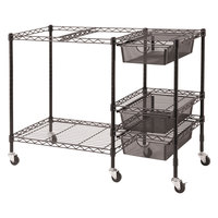 Vertiflex VF50621 38 inch x 15 1/2 inch x 28 inch Black Mobile File Cart with Drawers