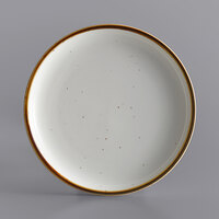 Acopa Keystone 8 1/2 inch Vanilla Bean Porcelain Coupe Plate - 4/Case