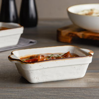 Acopa Keystone 15 oz. Vanilla Bean Porcelain Rectangular Baker / Casserole Dish - 24/Case