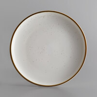 Acopa Keystone 12 1/2 inch Vanilla Bean Porcelain Coupe Plate - 4/Case