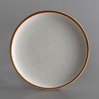 Acopa Keystone 10 1/2 inch Vanilla Bean Porcelain Coupe Plate - 4/Case