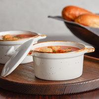 Acopa Keystone 8 oz. Vanilla Bean Porcelain Mini Casserole Dish with Lid - 6/Case