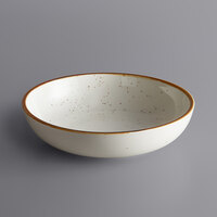 Acopa Keystone 8 inch Vanilla Bean Porcelain Coupe Low Bowl - 4/Case