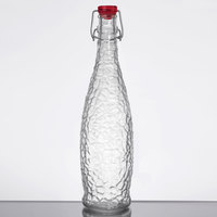 Libbey 13150121 34 oz. Glacier Oil / Vinegar / Water Bottle with Red Wire Bail Lid - 6/Case