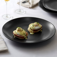 Acopa 12 1/4 inch Matte Black China Coupe Plate - 12/Case