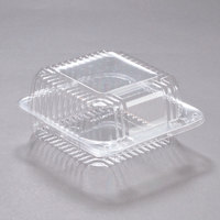 Dart PET25UT1 StayLock 6 1/8 inch x 6 1/2 inch x 3 1/4 inch Clear Hinged PET Plastic 6 inch Square Container - 500/Case