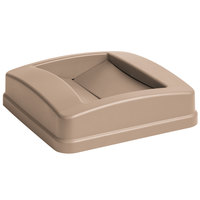 Carlisle 34352506 Centurian 23 Gallon Beige Square Trash Can Lid with Swing Top