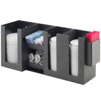 Cal-Mil 387-13 Black Napkin / Lid / Condiment Organizer - 17 1/2 inch x 5 inch x 8 inch