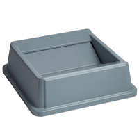 Rubbermaid FG266400GRAY Untouchable 35 / 50 Gallon Square Gray Trash Can Lid with Swing Top