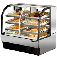 True TCGDZ-50 50 inch Stainless Steel Curved Glass Dual Zone Dry / Refrigerated Bakery Case - 27 Cu. Ft.