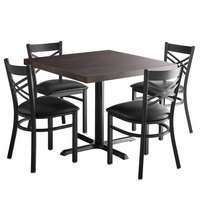 Lancaster Table & Seating 36 inch Square Recycled Wood Butcher Block Dining Height Table with 4 Black Cross Back Chairs and Espresso Finish