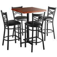 Lancaster Table & Seating 30 inch Square Recycled Wood Butcher Block Bar Height Table with 4 Black Cross Back Chairs - Mahogany