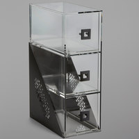Rosseto BD143 Mosaic Matte Black Acrylic Narrow Three-Tier Bakery Display Case - 7 inch x 12 inch x 19 inch