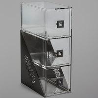 Rosseto BD143 Mosaic Matte Black Acrylic Narrow Three-Tier Bakery Display Case - 7 inch x 12 inch x 19 inch