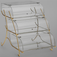 Rosseto BK021 Clear Acrylic Three-Tier Pastry Display Case with Brass Wire Stand - 22 2/5 inch x 15 inch x 17 1/5 inch