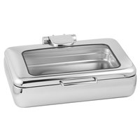 Eastern Tabletop 3995G Jazz Rock 8 Qt. Stainless Steel Rectangular Induction Chafer with Hinged Glass Dome Cover