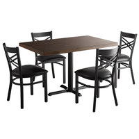 Lancaster Table & Seating 30 inch x 48 inch Recycled Wood Butcher Block Dining Height Table with 4 Black Cross Back Chairs - Espresso