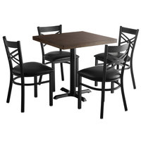 Lancaster Table & Seating 30 inch Square Recycled Wood Butcher Block Dining Height Table with 4 Black Cross Back Chairs - Espresso