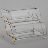 Rosseto BK020 Clear Acrylic Two-Tier Pastry Display Case with Brass Wire Stand - 22 2/5 inch x 15 inch x 13 inch
