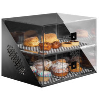 Rosseto BD144 Mosaic Matte Black Acrylic Wide Two-Tier Bakery Display Case - 18 inch x 12 inch x 13 inch
