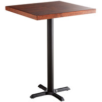 Lancaster Table & Seating 30 inch Square Bar Height Recycled Wood Butcher Block Table with Mahogany Finish and Cross Base Plate