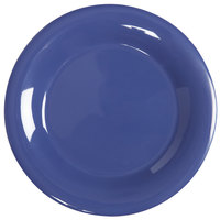 GET WP-9-PB Diamond Mardi Gras 9 inch Peacock Wide Rim Round Melamine Plate - 24 / Case