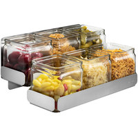 Rosseto SM322 Stainless Steel 2-Level Condiment Station with 6 Glass Jars