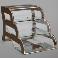 Rosseto BK017 Bronze Three-Tier Acrylic Bakery Display Case with Bronze Steel Stand - 15 3/10 inch x 23 3/10 inch x 15 1/2 inch