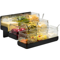 Rosseto SM328 Matte Black 3-Level Condiment Station with 9 Glass Jars