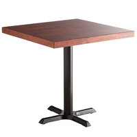 Lancaster Table & Seating 30 inch Square Standard Height Recycled Wood Butcher Block Table with Mahogany Finish and Cross Base Plate