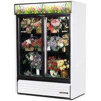 True GDM-49FC-LD White Two Door Glass Floral Case - 49 Cu. Ft.
