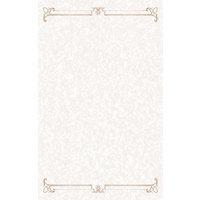 8 1/2 inch x 11 inch Menu Paper - Tan Swirl Border - 100/Pack