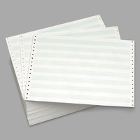 Domtar 118109 8 1/2 inch x 11 3/4 inch White Bond with 1/2 inch Green Bar 15# 2-Part Perforated Continuous Print Computer Paper - 3500/Sheets
