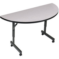 Correll EconoLine Mobile Half Round Flip Top Table, 24 inch x 48 inch Adjustable Height Melamine Top, Granite - FT2448MR