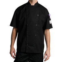 Chef Revival J045BK-M Chef-Tex Size 42 (M) Black Customizable Poly-Cotton Traditional Short Sleeve Chef Jacket