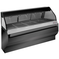 Alto-Shaam ED2SYS-72 BK Black Heated Display Case with Curved Glass and Base- Full Service 72 inch