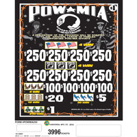 POW MIA 1 Window Pull Tab Tickets - 3996 Tickets per Deal - Total Payout: $3000