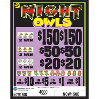 Night Owls 5 Window Pull Tab Tickets - 4000 Tickets per Deal - Total Payout: $650