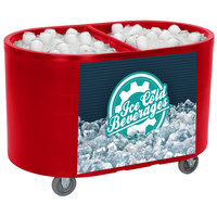 IRP Red Texas Tanker 3501551 Portable Insulated Ice Bin / Beverage Cooler / Merchandiser with Two Compartments 256 Qt.