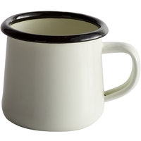 Tablecraft 80008 Enamelware 6 oz. Black and White Rolled Rim Mug