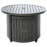 Endless Summer 36 inch Round LP Gas Outdoor Fire Pit Table with Wood Grain Top - 50,000 BTU
