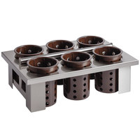 Steril-Sil E1-BS60E-BROWN Stainless Steel Drop-In Silverware Holder with 6 RP-25 Brown Plastic Cylinders