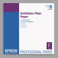 Epson S045039 17 inch x 22 inch Glossy White Exhibition Fiber Paper - 25 Sheets