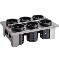 Steril-Sil E1-BS60E-BLACK Stainless Steel Drop-In Silverware Holder with 6 RP-25 Black Plastic Cylinders