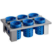 Steril-Sil E1-BS60E-BLUE Stainless Steel Drop-In Silverware Holder with 6 RP-25 Blue Plastic Cylinders